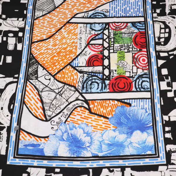 Viskosejersey Abstrakte Art PANEL - schwarz/rot/hellblau/orange/wollweiss/grün