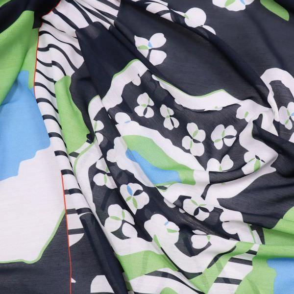 Sommerschals- Voile Blumen & Streifen PANEL - marineblau/weiss/hellblau/grün (2.Wahl)