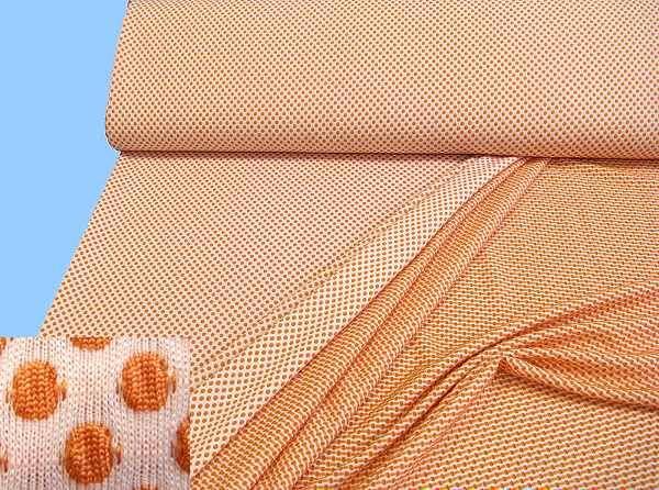 Jersey mit Punkten - weiss/apricot