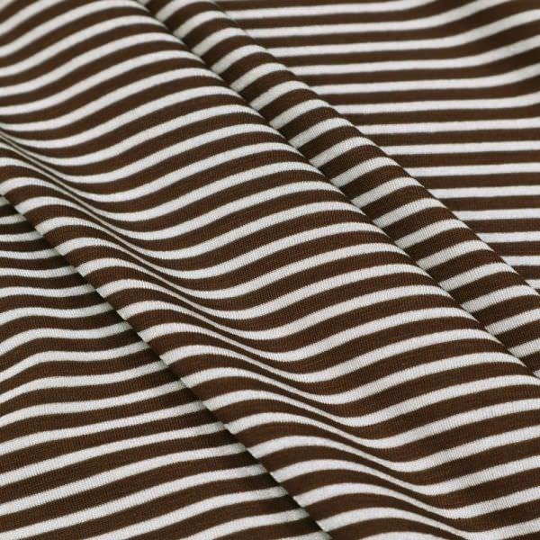 Viskose-Polyester-Mix Jersey mit Querstreifen - braun/weiss