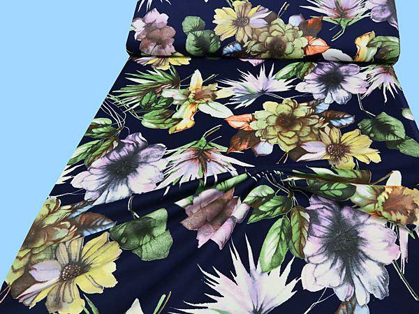 Velvet mit Blumen-Motiv - nachtblau/gelb/flieder