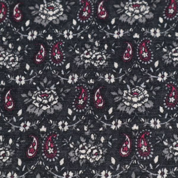 Woll- Feinjersey mit Paisleymuster - anthrazit/grau/bordeaux/weiss