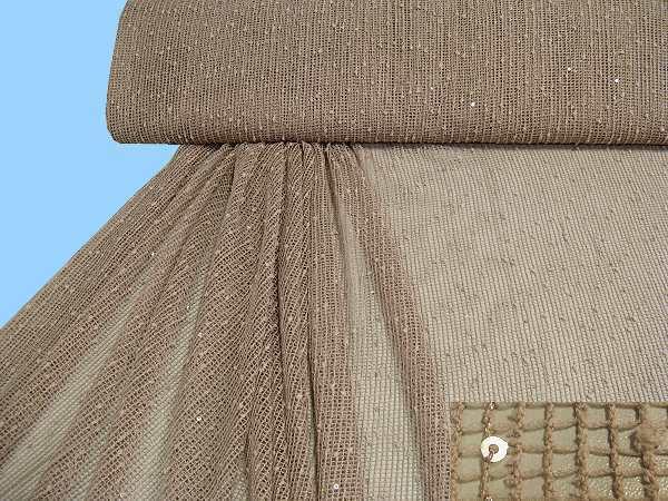 Strick mit Noppen und Pailletten uni - beige