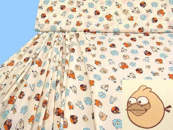 Blusen- und Kleiderstoff mit Kindermotiv - créme/wollweiss/apricot/orange/mint