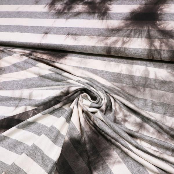 Viskosejersey Streifen & Batik - wollweiss/grau/dunkelbraun (Reststück 2,5m)