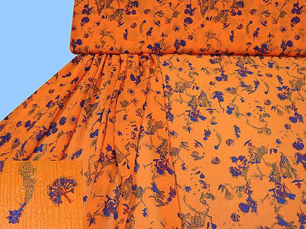 Crêpe Chiffon mit Blumen-Motiv - orange/royalblau/grün