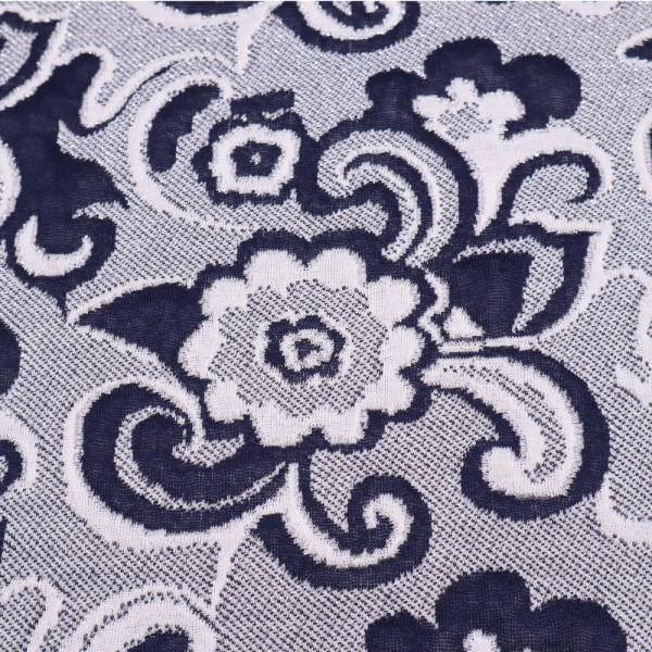 Doubleface Feinstrick-Jersey - weiss/marineblau/silber