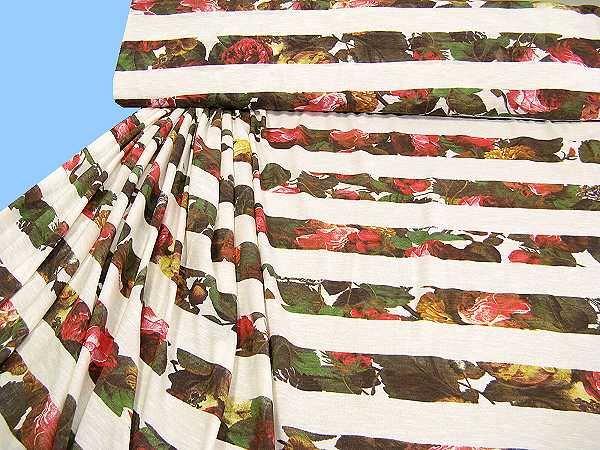 Baumwolljersey mit Querstreifen und Blumenmotiv - wollweiss/multicolor