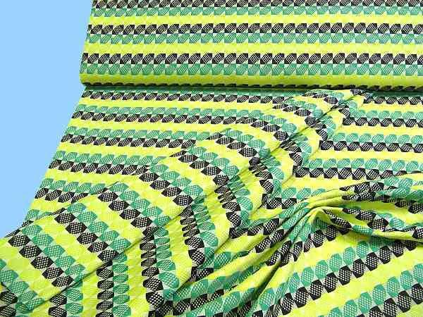 Jacquard - grün/gelb/wollweiss/schwarz