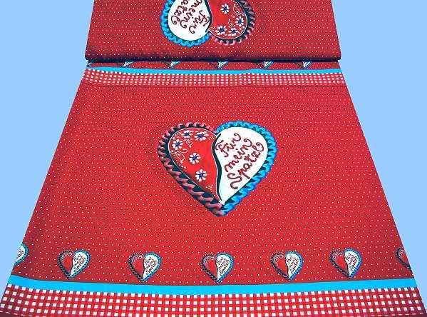 Kleiderstoff mit Herzmuster - rot/weiss/türkis/schwarz