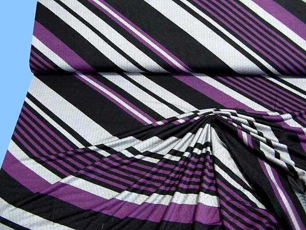 Feinjersey mit Diagonalstreifen - schwarz/lila/weiss