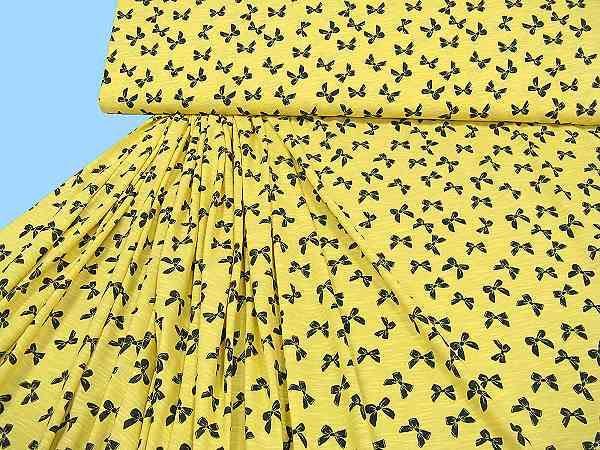 Baumwolljersey mit Schleifchen - gelb/nachtblau