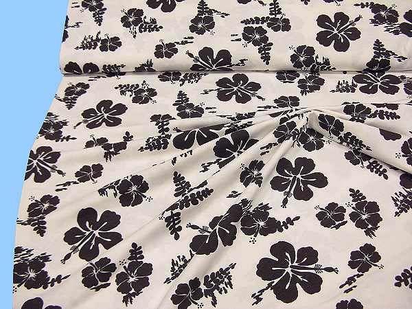 Jersey mit Blumen - wollweiss/braun