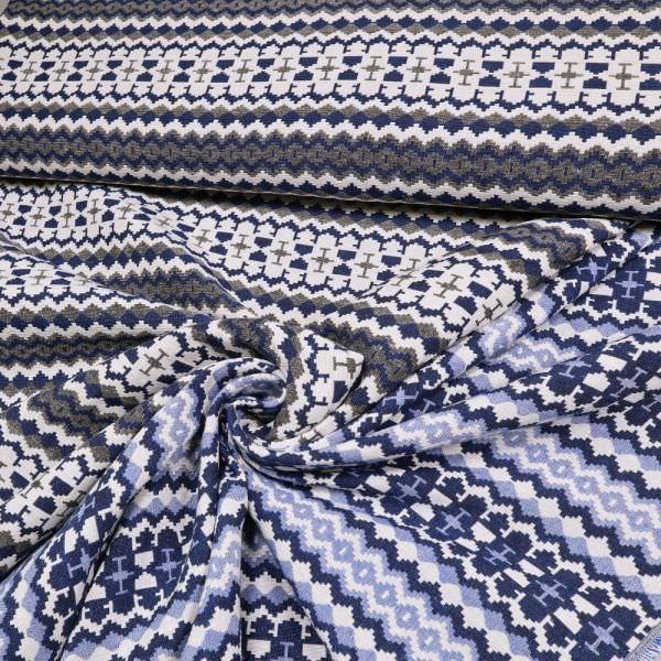 Jacquard mit Ethno-Muster - wollweiss/blau/marineblau/schwarz