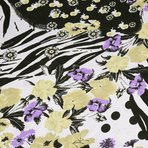 Viskosejersey Blumen & Tiger - weiss/flieder/beige/schwarz