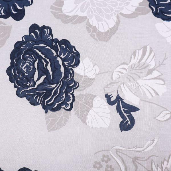 Baumwollstoff mit Rosen-Motiv - wollweiss/marineblau/beige