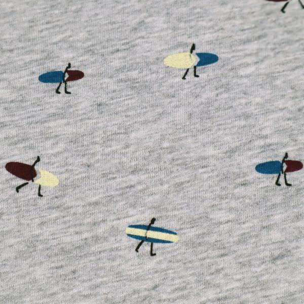 "Viskosejersey ""Surfer"" - grau/blau/bordeaux/creme"