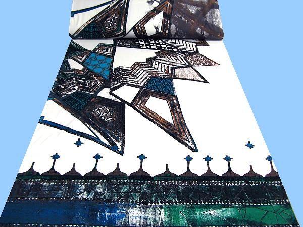 Jersey mit großem Muster - weiss/blau/braun/grün/türkis/taupe/schwarz