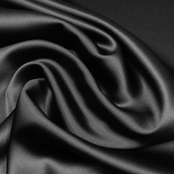 Seiden- Stretch Satin uni - schwarz