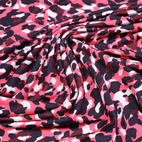 Viskosejersey mit Leoparden-Muster - wollweiss/fuchsia/bordeaux/schwarz