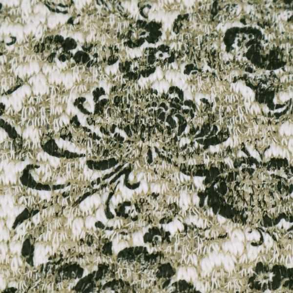 """Baumwoll- Strick """"Melange&Blumen"""" - wollweiss/beige/schwarz"""