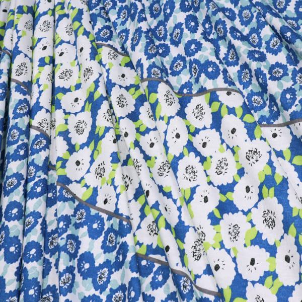 Baumwolljersey Blumen & Bordüre - weiss/blau/hellgrün/mintgrün/taupe