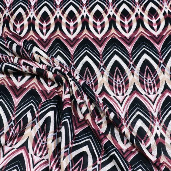 Feinjersey Orientalisches Motiv - wollweiss/brombeere/altrosa/beige/schwarz
