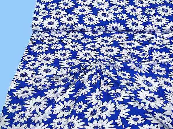 Viskosejersey mit Blumen - royalblau/weiss