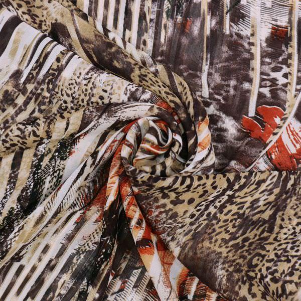 Viskose Chiffon Leopard&Streifen - beige/braun/terrakotta