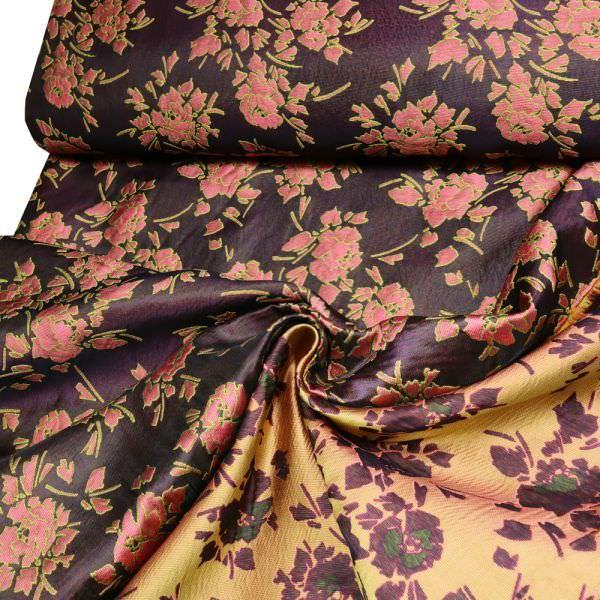 Jacquard mit Blumen-Motiv - bordeaux/rosé/fuchsia/gelb/schwarz