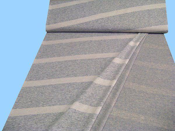 Viskosejersey mit Schrägstreifen - hellgrau/wollweiss (Doppelgewebe)