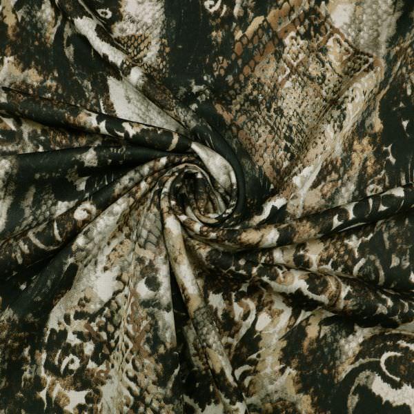 Baumwoll-Mix mit Schlangen&Leoparden-Muster - beige/braun/taupe/schwarz