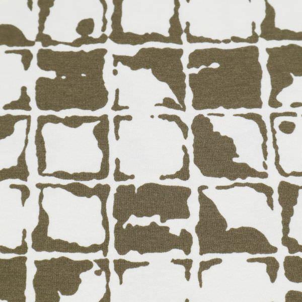 Viskosejersey Mosaik - wollweiss/taupe