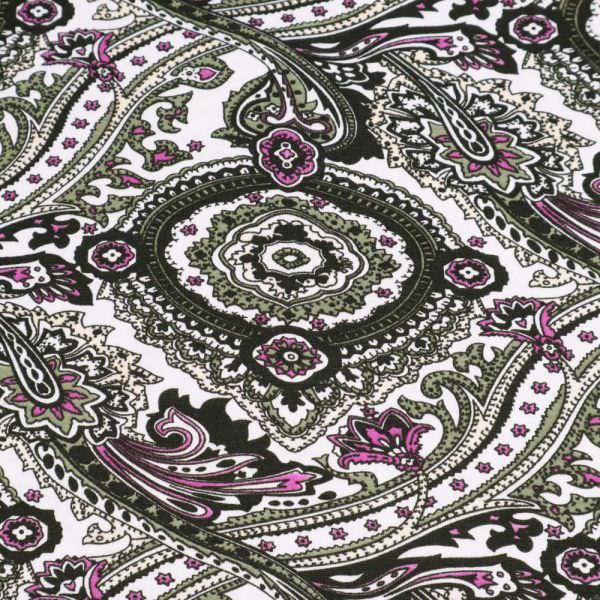 Baumwolljersey mit Paisleymuster - weiss/schilfgrün/violett/schwarz