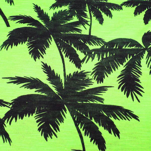 Feinjersey Palmen - neongrün/schwarz (Reststück - 5,4m)
