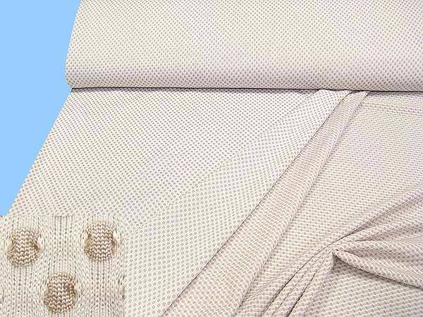 Jersey mit Punkten - weiss/beige