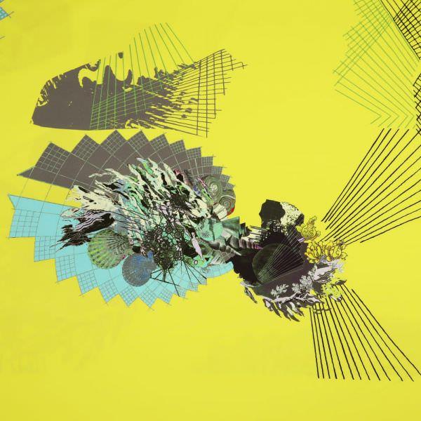 """Fitness & Bademodenstoff Lycra """"Futuristisches Muster"""" - gelb/mint/grün/blau/taupe"""