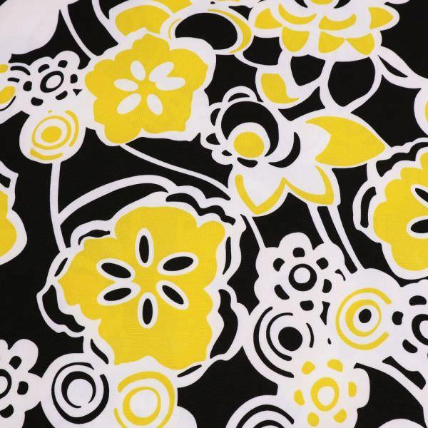 Jersey mit Blumen-Motiv - weiss/gelb/schwarz (Reststück - 5,2m)