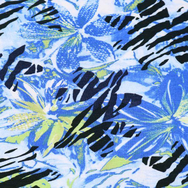 Viskosejersey blaue Blume - blau/hellblau/grün/schwarz/weiss