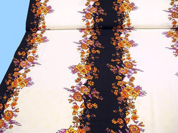 Baumwolljersey mit Blumenbordüren - wollweiss/gelb/orange/rosé/fuchsia/schwarz