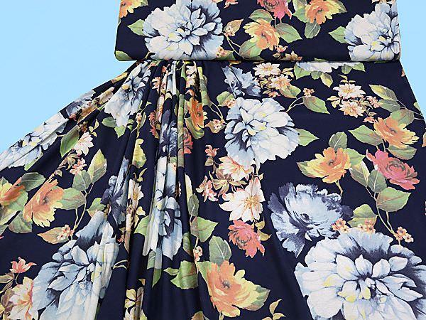 Feinjersey mit großem Blumenmotiv - dunkelblau/multicolor