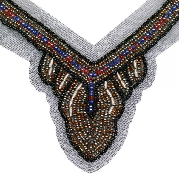 Applikation für V-Ausschnitt mit Perlen - schwarz/silber/multicolor