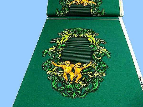 Baumwollstoff mit großem Motiv - dunkelgrün/grün/kiwi/neongrün/weiss/gelb/goldgelb/schwarz