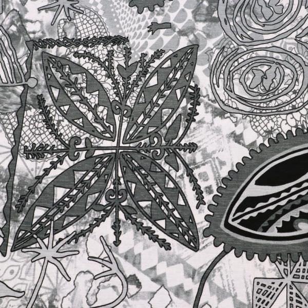 Jersey African Print - weiss/grau/anthrazit/schwarz