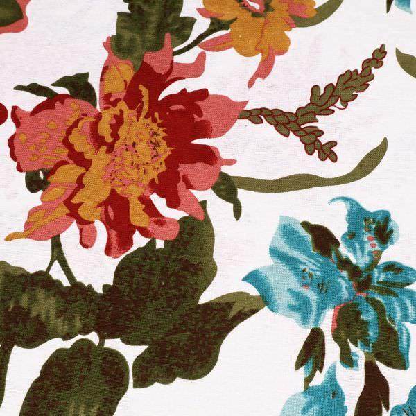 """Baumwollstoff Leinen Look """"Blumen"""" - - wollweiss/dunkelrot/altrosa/ocker/olivgrün"""