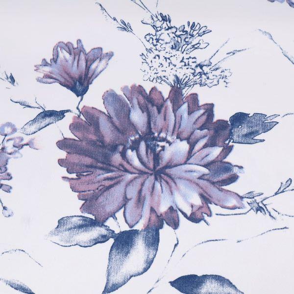 Stretch Baumwoll- Twill mit Blumen-Motiv - wollweiss/jeansblau/altrosa