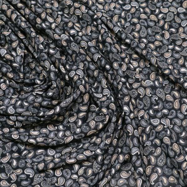Slinky-Jersey mit Paisleymuster - schwarz/grau/hellbraun/wollweiss
