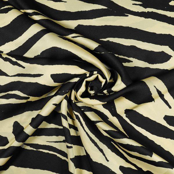 Blusen- und Kleiderstoff mit Zebramuster - beige/schwarz